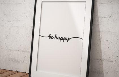 BE HAPPY WHITE POSZTER